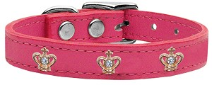 Gold Crown Widget Genuine Leather Dog Collar Pink 16